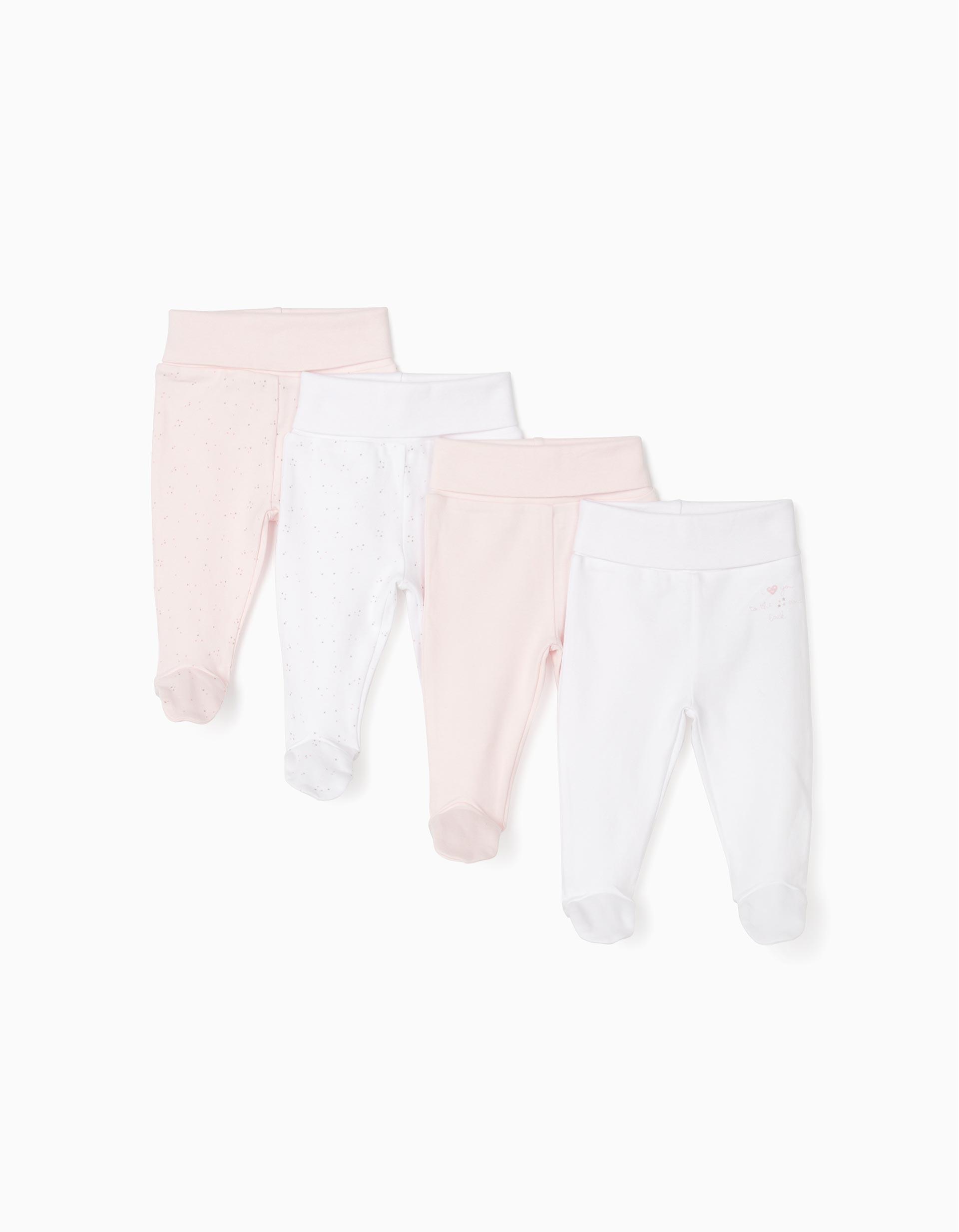 4 Calças com Pés para Recém-Nascida, Branco/Rosa