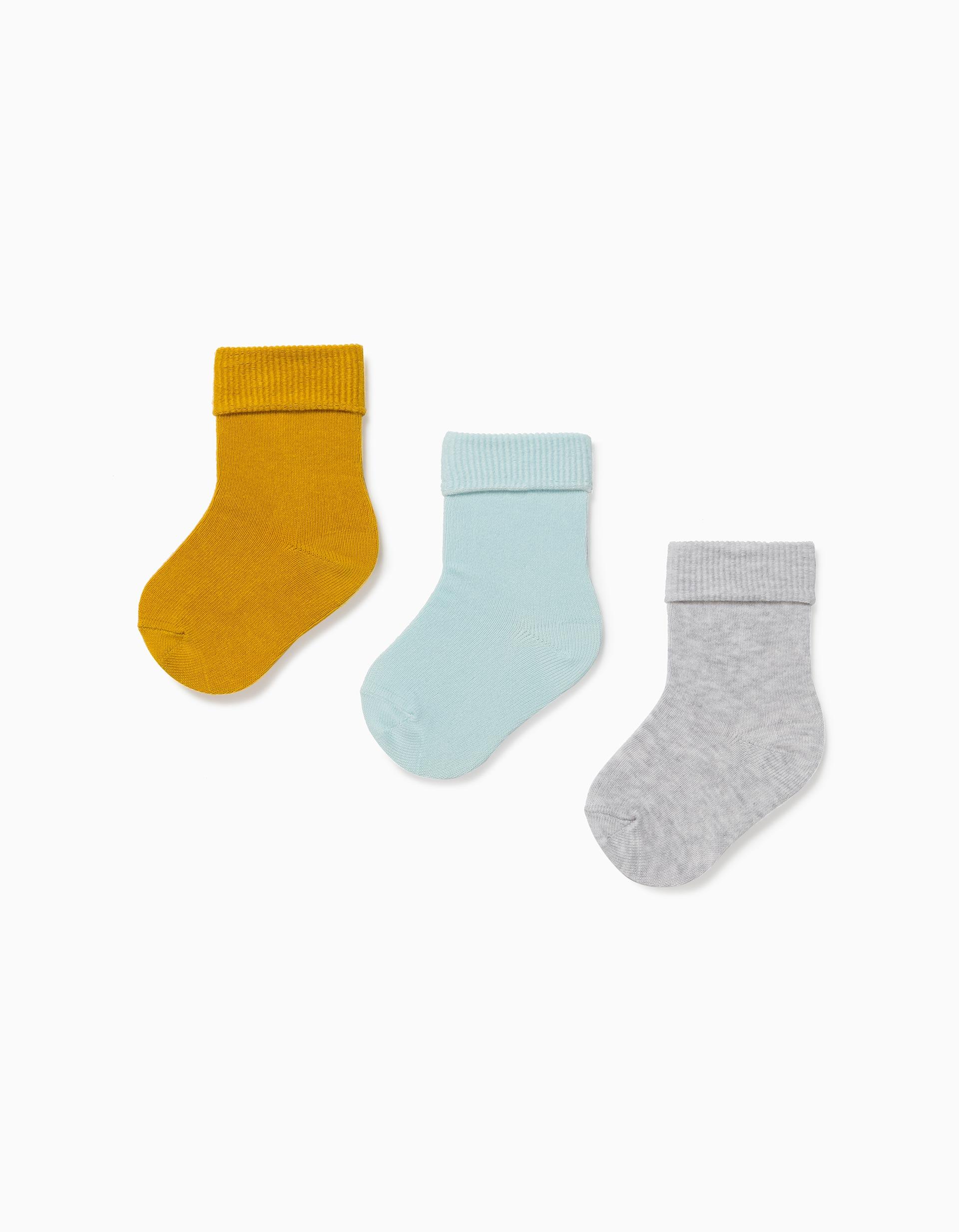 3 Pares de Meias com Dobra para Bebé Menino, Amarelo/Azul/Cinza