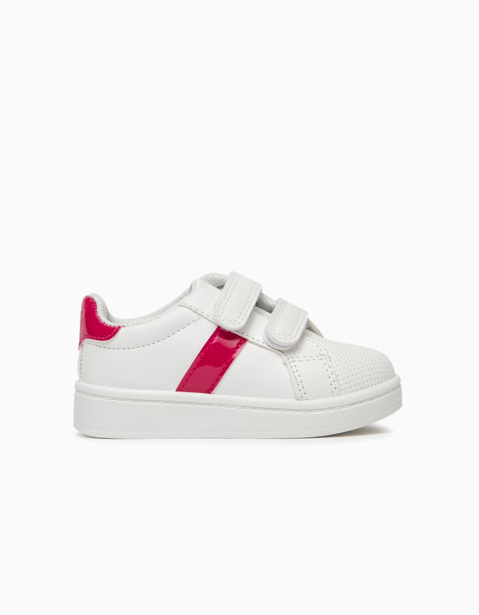 Sapatilhas para Bebé Menina, Branco/Rosa